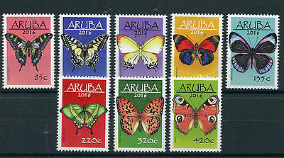 Aruba 2016 MNH Butterflies 8v Set Insects Butterfly Vlinders Stamps
