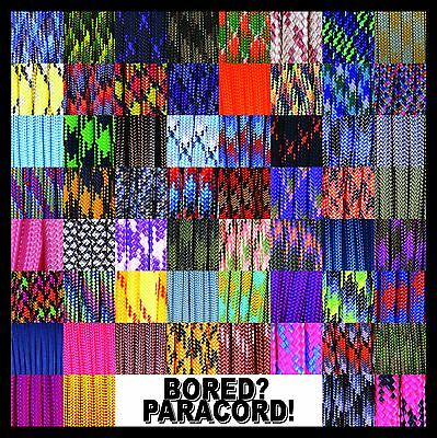 550 Paracord Rope Commercial Type III - 60 Colors and Patterns! - 25 50 100 feet
