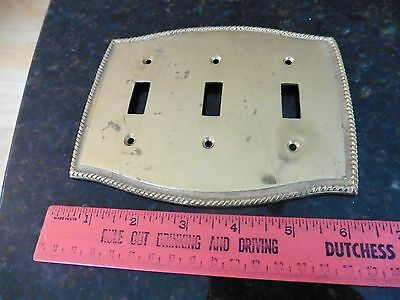 Vintage 3 light Switch Cast Brass Cover Plate Art Deco electrical Switch Plate