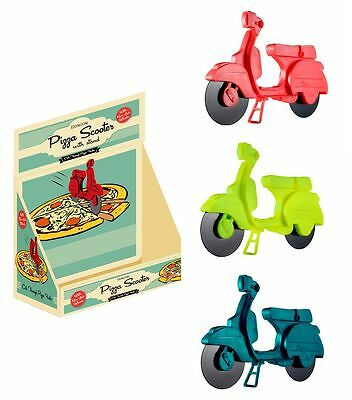 Pizza Scooter Blue Or Red Non Stick Wheels Wheel Cutter Xmas Moped Vespa Gift