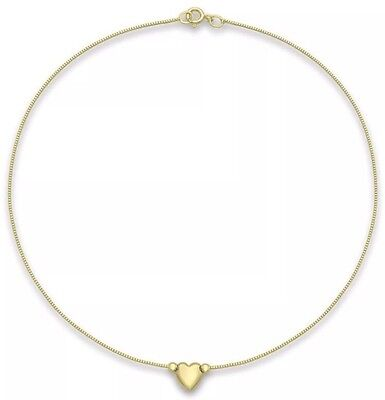 9ct YELLOW Solid GOLD Heart Charm Box Chain Anklet 24cm/9.5-Inch UK + FREE Gift