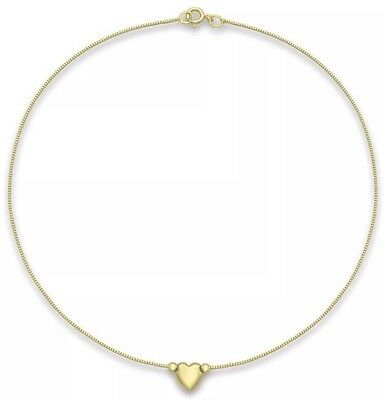 9ct YELLOW Solid GOLD Heart On Chain Anklet 24cm/9.5 Inch UK + FREE Gift