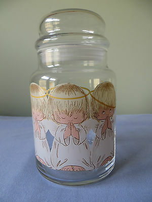 Glass Kitchen Canister With Three Little Praying  Angels