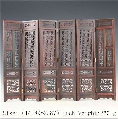 14.89 inch/Hand carved Chinese collection hongshan chicken wings wood screen