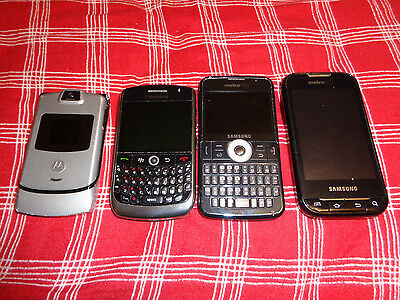 Lot OF 4 Cell Phone For Parts Or Repair MOTOROLA BLACKBERRY SAMSUNG SLIDE