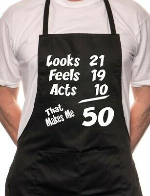 50th Birthday Looks Feels BBQ Cooking Funny Novelty Apron