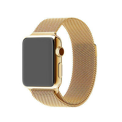 Golden Stainless Steel Magnetic Loop Watch Strap Bands Watchband For Iwatch 42mm