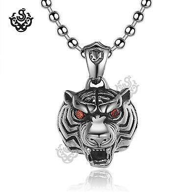 Silver tiger head pendant swarovski crystal stainless steel chain necklace