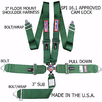 Rjs Racing Sfi 16.1 Cam Lock 5 Point Seat Belt Harness Floor Mount Green 1034909