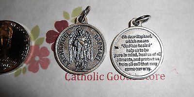 Saint St Raphael the Archangel  - Silver Tone Round - Medal with Prayer.