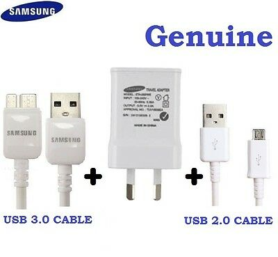 Genuine Samsung USB 2A AC Wall Charger+Data Cable for Galaxy S4 S5 S6,S7 Note 3