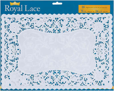 "French Lace Paper Doilies 9.75""X14.5"" Rectangle White 16/Pkg 24010"