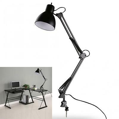 Black Flexible Swing Arm Clamp Mount Lamp Office Studio Home Desk Table Light
