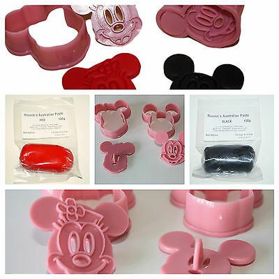 Mickey & Minnie Mouse Plunger Cutter Set, Plunger Cutters and Modelling Paste