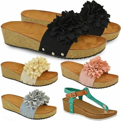 c75e65b6e New Ladies Womens Wedge Comfort Sandals Cushioned Flip Flops Footbed Shoes  Size
