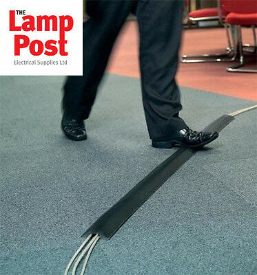 Greenbrook Black PVC Rubber Cable Tidy Floor Cover Protector Trunking 64 x 11mm