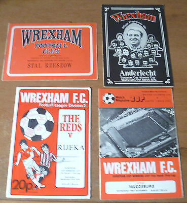 4x Wrexham, 1975-79 - Collection of Cup Winners' Cup Home Programmes.