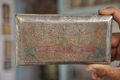 1930's Old Brass Handcrafted Floral Engraved Lacquer Cigarettes Case / Box