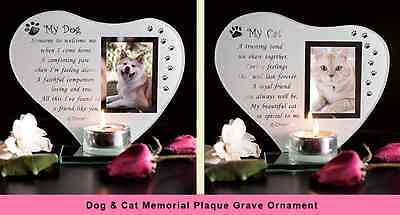 Dog, Cat Glass Grave Memorial Ornament for Remembrance Poem Candle Photo Holder