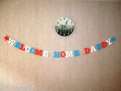 Personalised Welcome Home Daddy Dad Son Soldier Party Army RAF Navy Banner