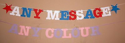 Banner Bunting Congratulations Good Luck Welcome Home Hen Stag Night Party Name