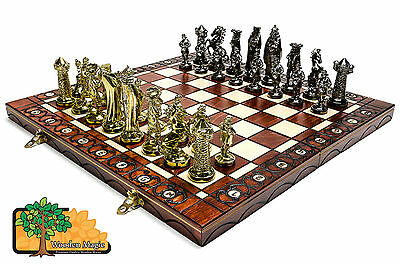 MEDIEVAL GOLD - Large 40cm / 15.7in Artistic Chrome Plastic Chess Set