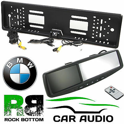 """BMW 4.3"""" Rear View Reversing Mirror Monitor & Car Number Plate Colour Camera Kit"""
