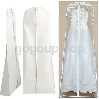 Wedding Bridal Prom Dress Garment Gown Cover Protector Zip Bag Clear/white