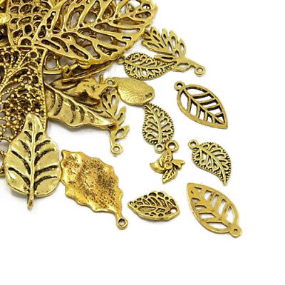 Leaf Charm/Pendant Tibetan Antique Gold 5-40mm  30 Grams Accessory DIY Jewellery
