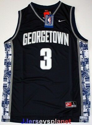 NCAA Throwback Basketball Jersey ALLEN IVERSON 3 Georgetown Hoyas Blue Men NWT