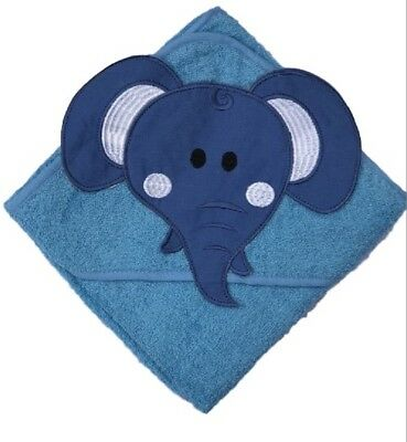 100 % PURE COTTON Baby Hooded Bath towel ** BLUE  ELEPHANT **