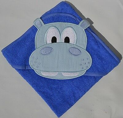 100 % PURE COTTON Baby Hooded Bath towel ** BLUE HIPPO ** 75X75 CM