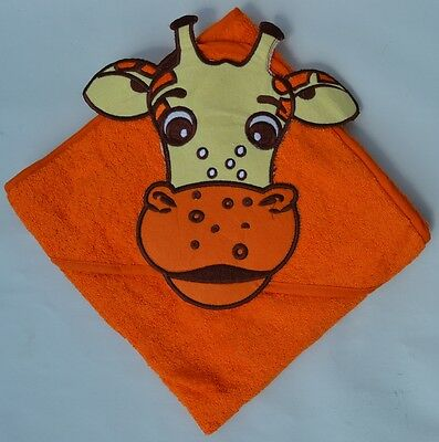 100 % PURE COTTON Baby Hooded Bath towel ** ORANGE JIRAFFE **