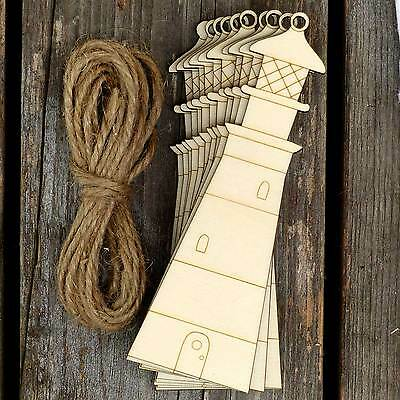 10x Wooden Traditional Light House Craft Shapes 3mm Plywood Sea Side Buildings