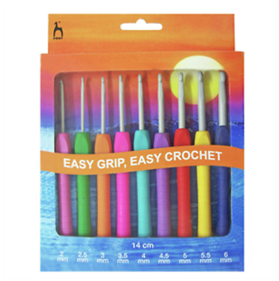 NEW PONY Easy Grip Crochet Hook Set | 9 Hooks sizes 2-6mm | FREE DELIVERY