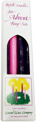 "Advent Taper Candles 11.5"" 4/Pkg 3 Purple & 1 Pink 1184-96"
