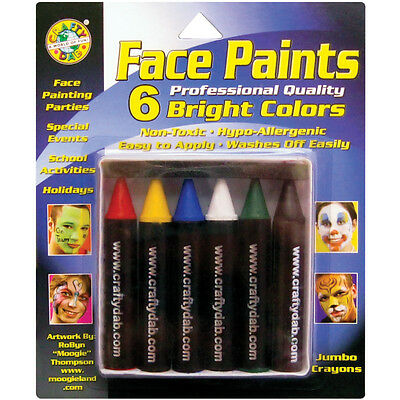 Face Paint Jumbo Crayons 6/Pkg Bright 800-32
