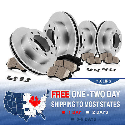 Front and Rear Brake Rotors & Ceramic Pads Kit FORD F250 F350 EXCURSION 4WD 4X4