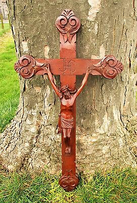 Stunning Large Ornate Carved Wood Hanging Crucifix Cross Jesus Christ 31.88""