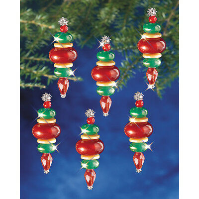 """Holiday Beaded Ornament Kit Victorian Baubles 2.25""""X.75"""" Makes 12 BOK-5941"""