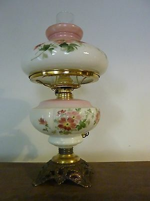 ANTIQUE PINK FLORAL GWTW BRASS PARLOR LAMP with HALF SHADE