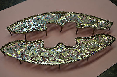 FANCY SADDLE TRIM PLATES Fleming Sterling Silver Rope Edge Floral Filigree Cut