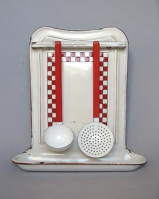 Large VINTAGE FRENCH ENAMELWARE UTENSIL RACK with LADLE AND SKIMMER