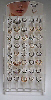 Nose Septum Rings (Real) Multi-Design Gold & Silver W/ Rhinestones 40Pcs