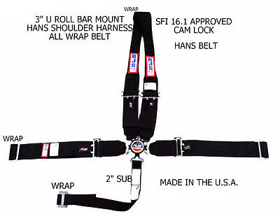 Rjs Racing Sfi 16.1 5Pt Hans Cam Lock U Wrap Roll Bar Mount Belt Black 1043901