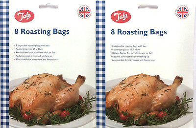 16 x Tala Oven Roasting Bags Ideal for Chicken, Fish Meat Cooking Food 25 x 38cm