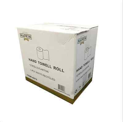 """12 Roll Hand Paper Towel 1-Ply Perforated Center-Pull 8"""" Width white recycle"""