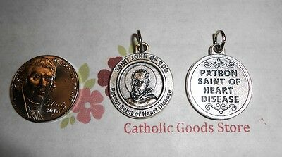 Saint St John of God  - Patron St of Heart Disease - Silver Tone Round- Medal