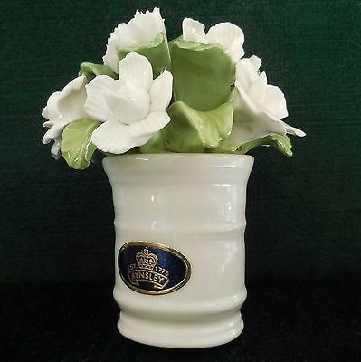 Aynsley Hand Modeled Fine Bone China Mini Cup of Flowers White Floral