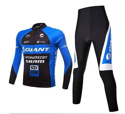Quick Dry long Sleeve Giant Cycling Mens Jersey+pants Outdoor sport Black blue